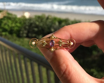 Beautiful Amethyst and Seed Pearl Pin