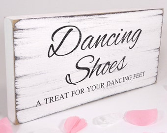 Free Standing White Wedding Table Sign / Plaque - Flip Flops - Dancing Shoes 02 - Vintage - Shabby but Chic - Aged - Handmade