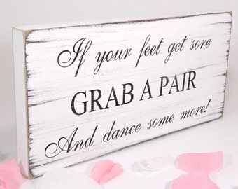 Free Standing White Vintage Wedding Table Sign / Plaque - Flip Flops - Dancing Shoes - Shabby but Chic -Aged - Handmade