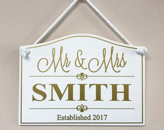 Mr & Mrs... Established Hanging Sign