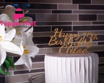 Personalized Happy Birthday With Name and Age Cake Topper