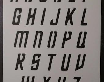 """Star Trek Font Alphabet 1.5"""" Tall Letters Custom Stencil FAST FREE SHIPPING"""