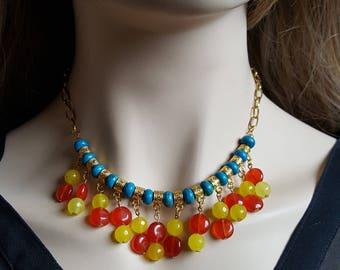 Turquoise Red, Turquoise Necklace, Turquoise Statement, Bib Necklace, Boho Beaded,  Chunky Necklace, Choker Necklace, Bright Choker
