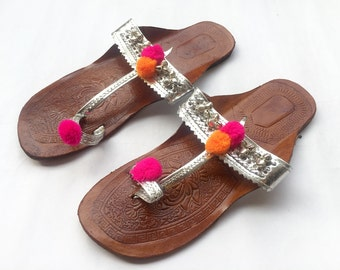 Silver Kolhapuri Chappals Embellished with Silver Bells and Pink, Orange Pom Pom Balls, Ethnic Indian Sandals
