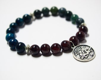 Virgo Bracelet with Chrysocolla, Garnet & Moss Agate Gemstones/Astrology Jewelry for Star Signs/Horoscope Bracelet