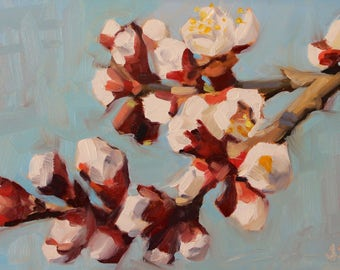X is for Xiang Peach Blossoms- Original Oil Painting on 5x7 inch Ampersand Gessobord