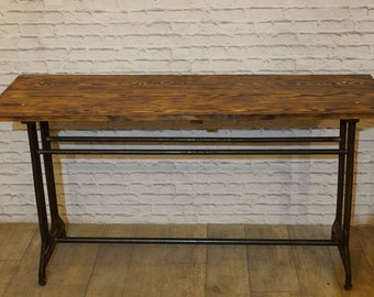 Vintage Industrial Rustic Reclaimed Plank Top Console Table