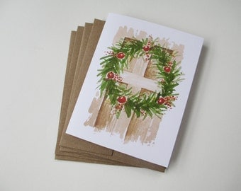 Christmas Wreath Watercolor Note Card Set | Blank Note Cards | Hand Painted | Watercolor Painting
