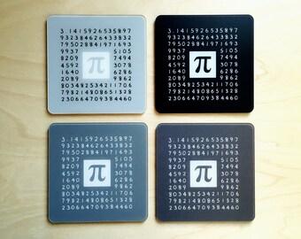 Pi Math Coasters Set of 4 shades of grey gray - Pi Day Number Nerd Geek Gift - Mathematics