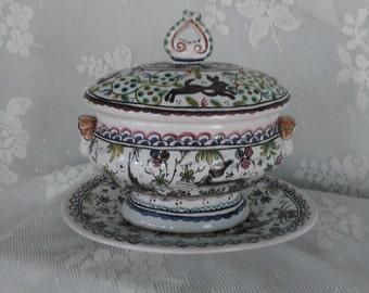 Portuguese Ceramic Jam Pot/Mini Tureen Vintage