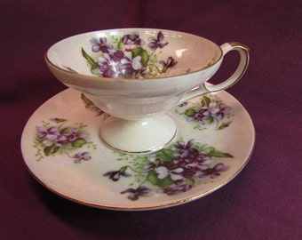 Riviera Hand Painted Tea Cup and Saucer, Made in Japan