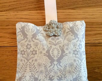 Lavender bag, lavender sachet, lavender bag with hare print fabric, lavender wardrobe hanger, lavender sleep pillow, lavender gift