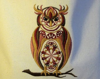 Custom Embroidered Owl Tote Bag