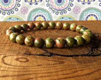 8mm Unakite Stacking Bracelet, A Grade, Unakite Jewelry, Yoga Gifts, Opening the Heart Chakra - Healing the Emotional Body - Self Compassion