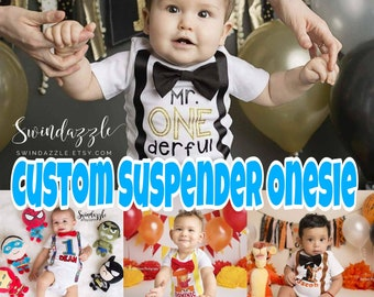 Custom 1st Birthday Suspender Onesie