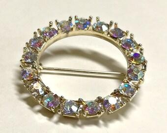 Sparkling vintage aurora borealis rhinestone circle brooch or pin, crystal brooch, rhinestone brooch, mid century modern brooch, 1960s