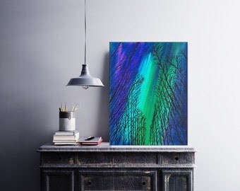 11 x 14 Landscape Painting - Northern Lights Acrylic Painting - Acrylic Art - Aurora Borealis Art - Canvas Painting - Gift For Him