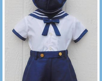 Baby Boy Sailor Outfit, Sailor Hat, Nautical Baby Outfit