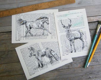 Dictionary Art, Woodland Animals, Art & Collectibles, Recycled Paper, Set Of 3 Prints, Dorm Decor, Farmhouse decor, Hipster Wall Art,