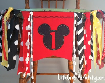 Mickey Mouse Banner, Mickey Mouse rag tie Banner, Mickey Mouse Birthday Party, 1st Birthday Banner, Highchair banner