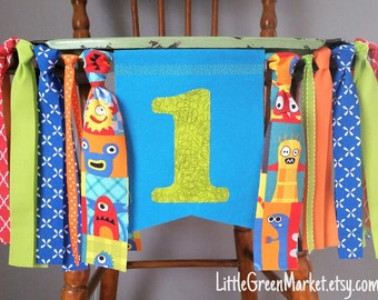 Monster Birthday Banner, 1st Birthday Banner, Little Monster Birthday Party, Smash cake photo shoot,  Highchair banner