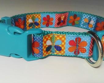 Adjustable Flor Dog Collar - Blue/Green
