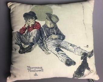 "Vintage Norman Rockwell ""Disastrous Daring"" Throw Pillow Americana Folk Art 15x15 by Newport"