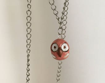 Clay owl necklace chain