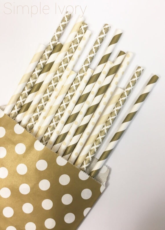 Simple Ivory straw mix//straws, paper straws, party supplies, party decorations, wedding shower, birthday party, baby shower,