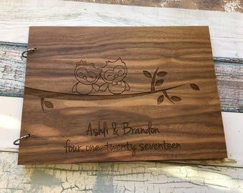 Owl Wedding | Personalized Wedding Guest Book | Unique Wedding Guest Book | Wood Guest Book | Wooden Guest Book | Personalized For You!