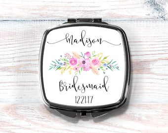 Compact Mirror, Personalized Compact Mirror, Bridesmaid Gift, Maid of Honor Gift, Swag Bag Favor, Swag Bag Gift Bridal Party Gift,