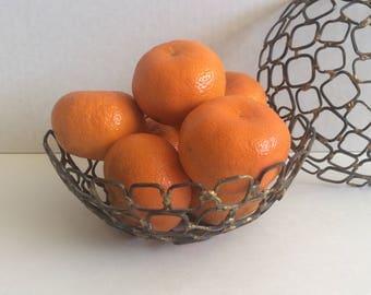Wonderful pair of recycled metal bowls or baskets