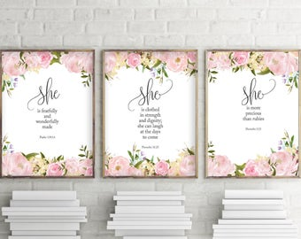 Nursery Wall Art, Set of 3 prints, She Is More Precious Than Jewels, Fearfully and Wonderfully Made, She Is clothed In Strength and Dignity