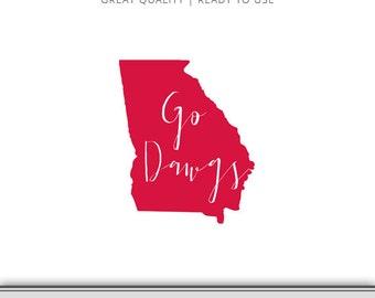 Georgia Bulldogs - Georgia State Graphic | Digital Download | Georgia DXF - Georgia SVG - Go Dawgs - Ready to Use!