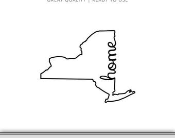 New York Home Silhouette Outline Graphic - New York Silhouette - New York SVG - NYC SVG - Instant Download - Ready to Use!