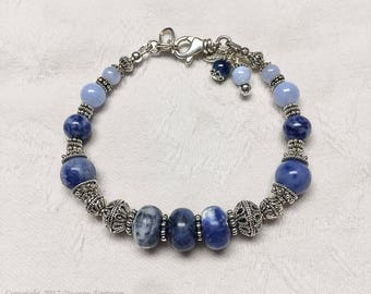 Sodalite, Blue Lace Agate and Sterling Silver Bracelet