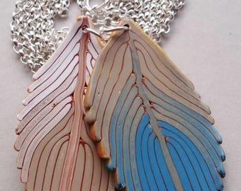 Blue Feathers Polymer Clay Necklace (#0008)