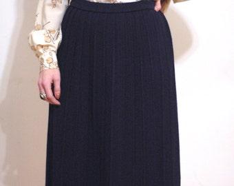 navy stretch wool A line skirt SM