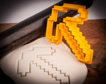 Minecraft pickaxe cookie cutter, FOOD SAFE, 3D Printed