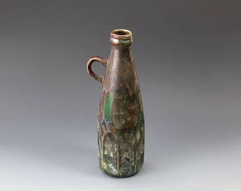 "Bottle With Ear - Crystalline Glaze - ""Galaxy Green&Red"""