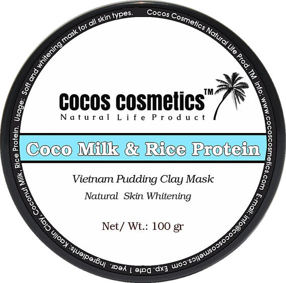 Coconut milk and Rice protein white clay facial mask - For Sensitive Skin, Dry Skin, Oily skin -  Brightening Mask, Vegan skin care