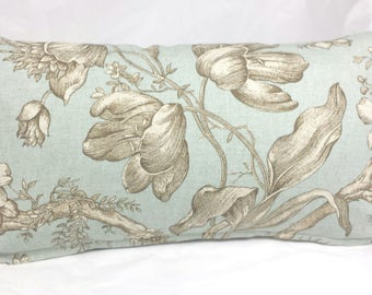 Teal and Taupe Rectangular Cushion INCLUDES Insert. Elegant Decorative Pillow.