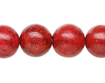 Red Coral Bead, Round Sponge Coral, Red Bead, 12mm, 6 Beads, D955