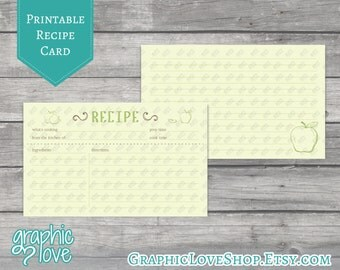 Green Apple Printable 3x5 Double Sided Recipe Card | Digital JPG Files, Instant Dowload