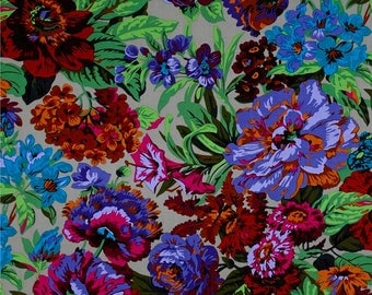 Kaffe Fassett Voluptuous Floral Flowers Grey Cotton Fabric by Philip Jacobs Spring 2016 for Free Spirit Fabrics Westminster Rowan