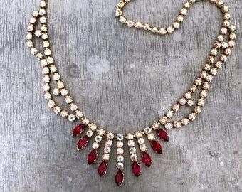 Vintage rhinestone necklace, aurora borealis necklace, AB necklace, 1950's choker , rhinestone necklace, vintage prom necklace, ruby red,
