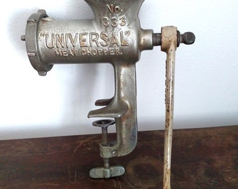 Large, Heavy, No. 333 Universal Meat Chopper, Kitchen Food & Meat Grinder, Vintage, Made In U.S.A.