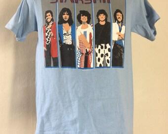 Vtg 1986 Starship We Built This City Concert T-Shirt Blue S/M 80s Pop Rock Band Jefferson Airplane