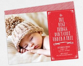 Holiday Birth Announcement, Christmas Birth Announcement, First Christmas, Best Gifts Don't Come Under a Tree, Printable