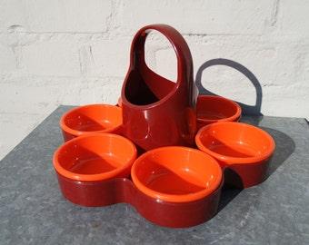 Vintage 70s orange and brown Emsa tray